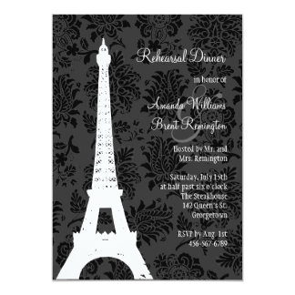 "Damask Paris Rehearsal Dinner (black) 5"" X 7"" Invitation Card"
