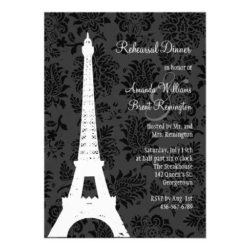 Damask Paris Rehearsal Dinner (black) Custom Announcement