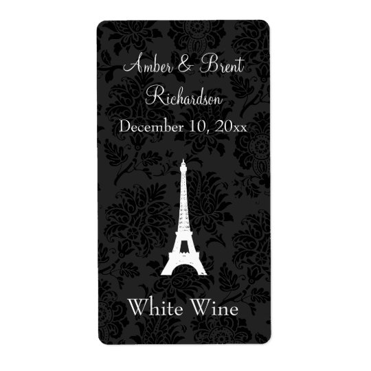 Damask Paris Wine Label