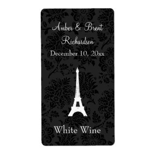 Damask Paris Wine Label Shipping Label