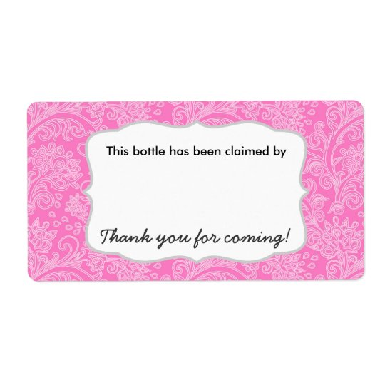 Damask party beer water soda bottle name tags shipping label