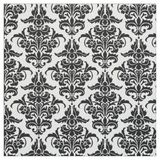 Damask Pattern - Black Fabric