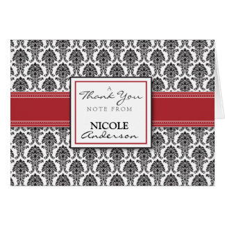 Damask Pattern Custom Thank You Card (red)