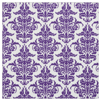 Damask Pattern - Deep Purple on White Fabric