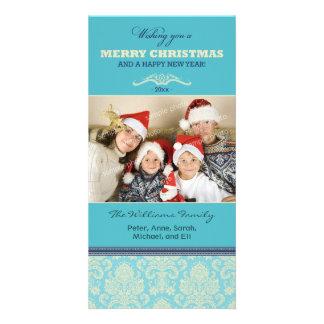 Damask Pattern Family Holiday Photocard (aqua) Personalized Photo Card