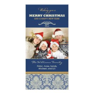 Damask Pattern Family Holiday Photocard (blue) Card