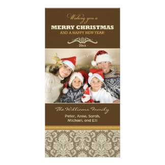Damask Pattern Family Holiday Photocard (brown) Picture Card