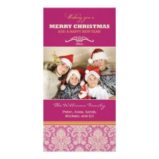 Damask Pattern Family Holiday Photocard (fuchsia) Photo Greeting Card