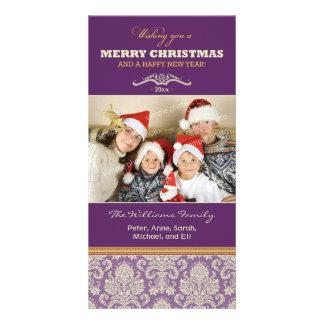 Damask Pattern Family Holiday Photocard (purple) Personalized Photo Card