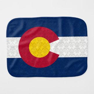 Damask Pattern Flag of Colorado Baby Burp Cloth