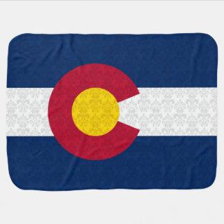 Damask Pattern Flag of Colorado Stroller Blanket