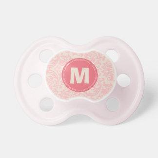 Damask Pattern Monogram Baby Pacifier (pink)