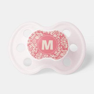 Damask Pattern Monogram Baby Pacifier (rose)