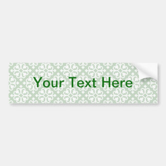 Damask Pattern on Green Bumper Sticker