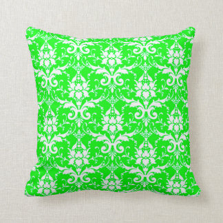 DAMASK PATTERN PILLOW, Lime Green & White Throw Pillow