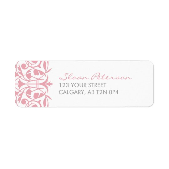 Damask Pattern Pink Address Label