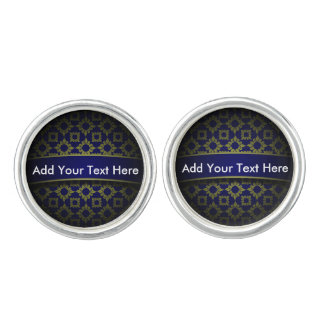 Damask Pattern Round Cufflinks, Silver Plated Cufflinks