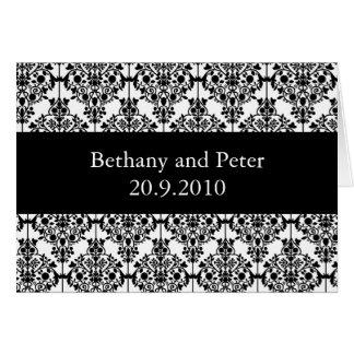 Damask pattern wedding invitations