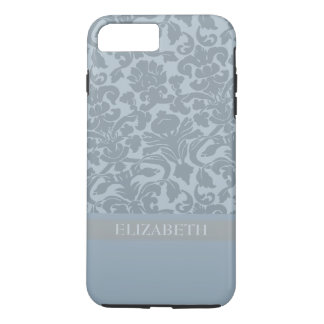 Damask Pattern with Monogram - blue Case-Mate iPhone Case