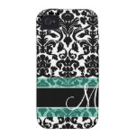 Damask Pattern with Monogram Case-Mate iPhone 4 Covers
