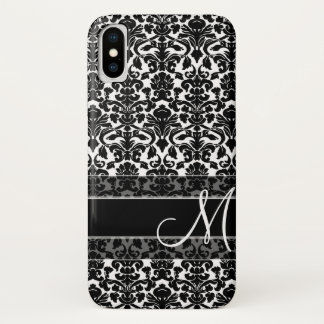 Damask Pattern with Monogram iPhone X Case