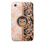 damask pattern with owl