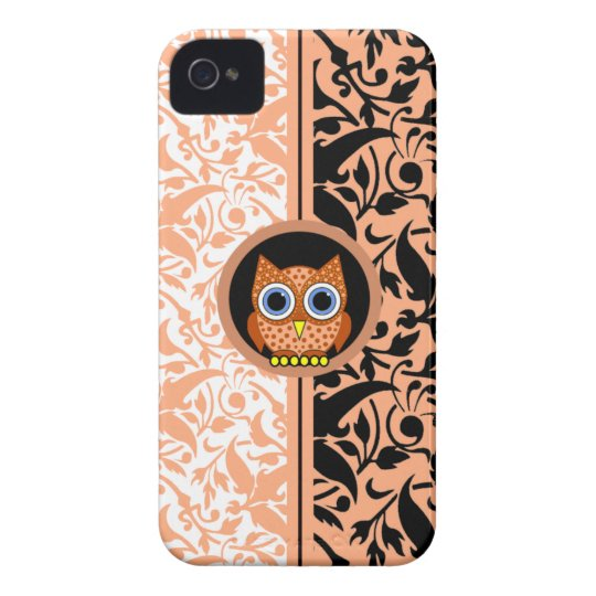 damask pattern with owl iPhone 4/4S case