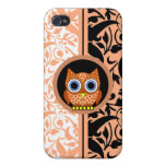 damask pern with owl  covers for iPhone 4