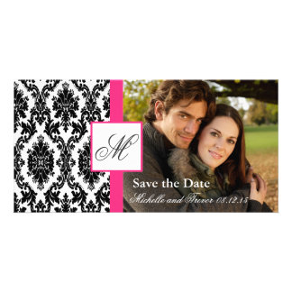 Damask Photo Save the Date - Hot Pink Customized Photo Card