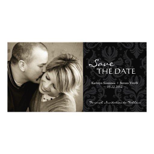 Damask Photo Save The Date Invitation Custom Photo Card