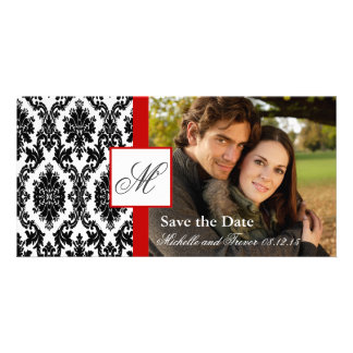 Damask Photo Save the Date - Red Photo Greeting Card