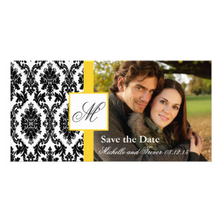 Damask Photo Save the Date - Yellow Picture Card