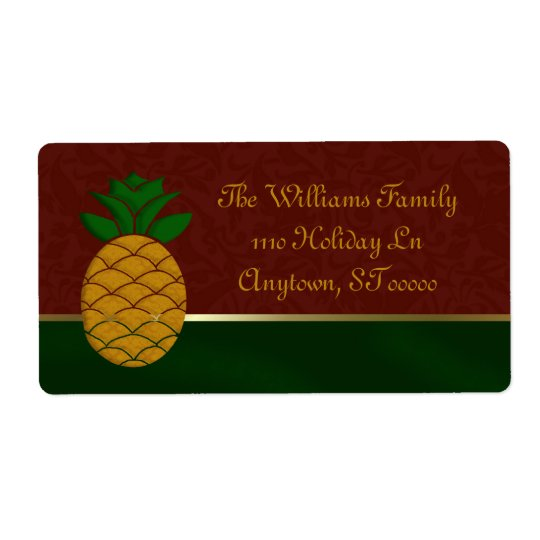 Damask Pineapple Holiday Address Labels