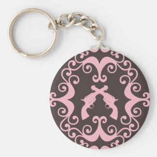 Damask pink black guns grunge western pistols chic basic round button keychain