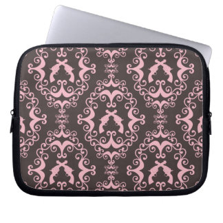 Damask pink black guns grunge western pistols chic laptop sleeve