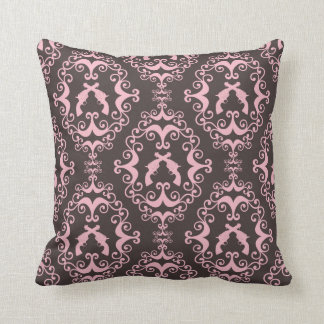 Damask pink black guns grunge western pistols chic throw pillow