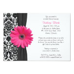 "Damask Pink Gerbera Daisy Recipe Bridal Shower 5"" X 7"" Invitation Card"