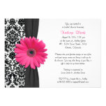 Damask Pink Gerbera Daisy Recipe Bridal Shower Custom Announcements
