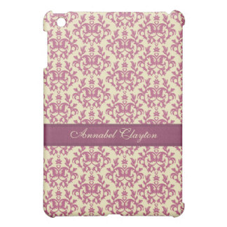 Damask pink plum lemon name ipad mini case