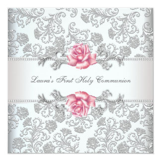 Damask Pink Rose Girls First Communion 5.25x5.25 Square Paper Invitation Card
