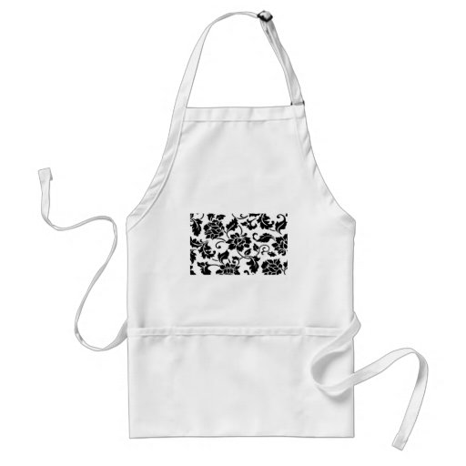 Damask Print-Black and White Aprons