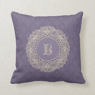 Damask Purple Antique Look Throw Pillow