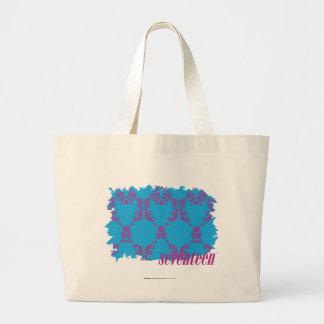 Damask Purple-Aqua 4 Large Tote Bag