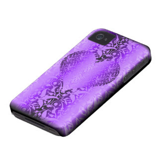 damask purple heart valentine iPhone 4 covers