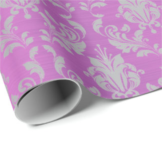 Damask Purple Plum Amethyst Lavender Gray Metallic Wrapping Paper