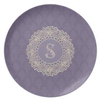 Damask Purple Vintage Look Plates
