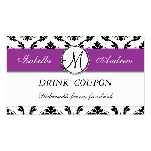 Damask Purple Wedding Free Drink Coupon Card Business Card