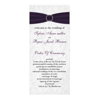 damask purple Wedding program Rack Card