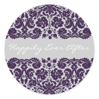 Damask Purple Wedding by WeddingInvitations