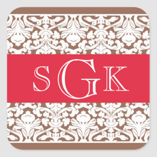 Damask red brown 3 initial monogram wedding favor square sticker